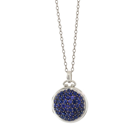 18K White Gold Locket with Pave Blue Sapphires