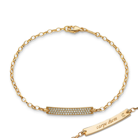 "18K Yellow Gold Diamond Pave ""Carpe Diem"" Petite Poesy Bracelet"