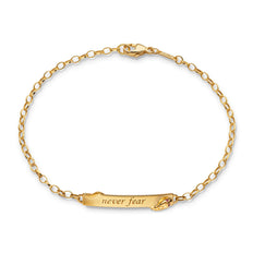 "18K Yellow Gold Snake ""Never Fear"" Petite Poesy Bracelet"