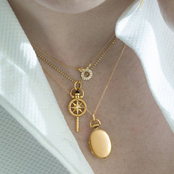 "18K Yellow Gold Petite ""Anna"" Locket, Snake Diamond Critter Necklace, and Mini Compass Key Necklace"