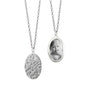 Oval Half-Locket Charm Necklace with Floral Pattern