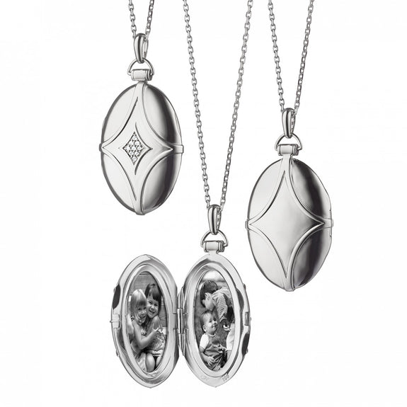 Sterling Silver Bridle Locket with White Sapphires