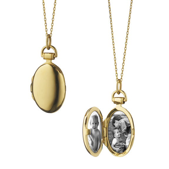 "18K Yellow Gold Anna Locket on 22"" Jamie Chain"