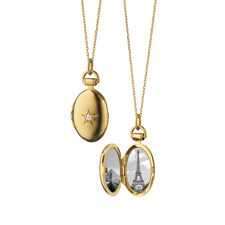 18K Yellow Gold Petite Oval Diamond Star Locket with Adjustable Chain