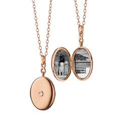 18K Rose Gold Infinity Diamond Locket