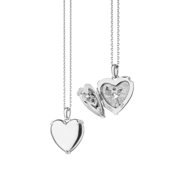 Heart Locket with White Sapphires, Silver Chain