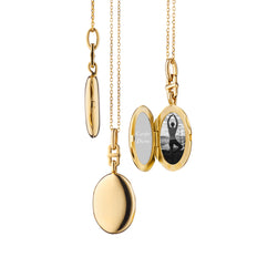 "18K Yellow Gold Slim Oval ""Eve"" Locket"