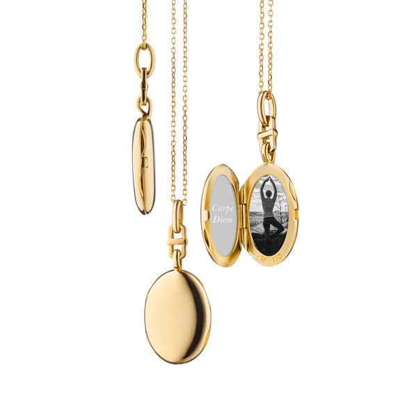 "18K Yellow Gold Slim Oval ""Eve"" Locket with Adjustable Chain"