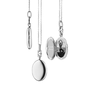 "Sterling Silver Slim Oval ""Eve"" Locket"