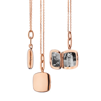 "18K Rose Gold Slim Cushion ""Viv"" Locket"