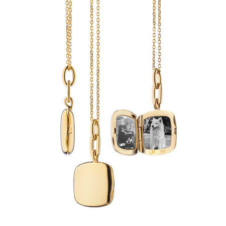 "18K Yellow Gold Slim Cushion ""Viv"" Locket"