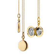 "18K Yellow Gold Slim Round ""Nan"" Locket"
