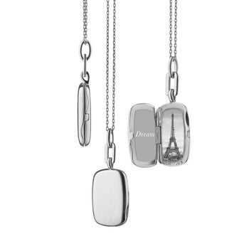"Sterling Silver Slim Rectangle ""Dee"" Locket"