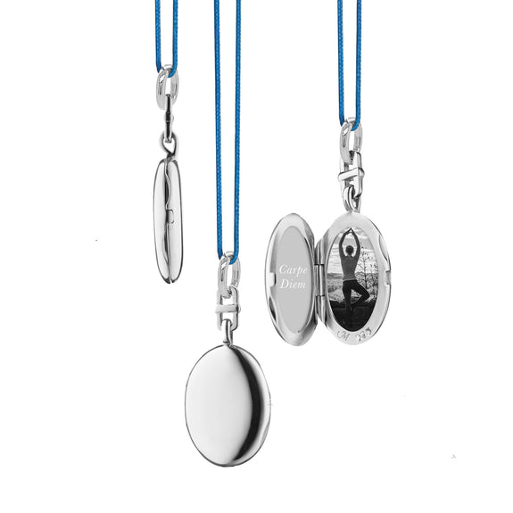 "Slim Oval ""Eve"" Locket on 18"" Blue Cord"