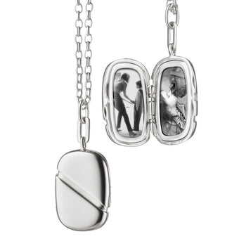Rectangular Locket with Diagonal Stripe