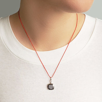 "Slim Cushion ""Viv"" Locket on 18"" Red Cord"
