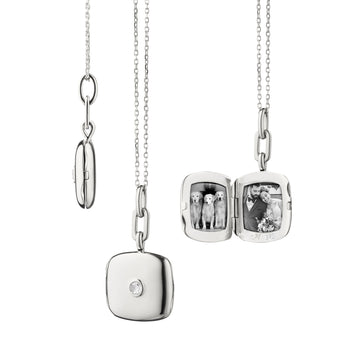 "Slim Cushion ""Viv"" Locket with Sapphire"