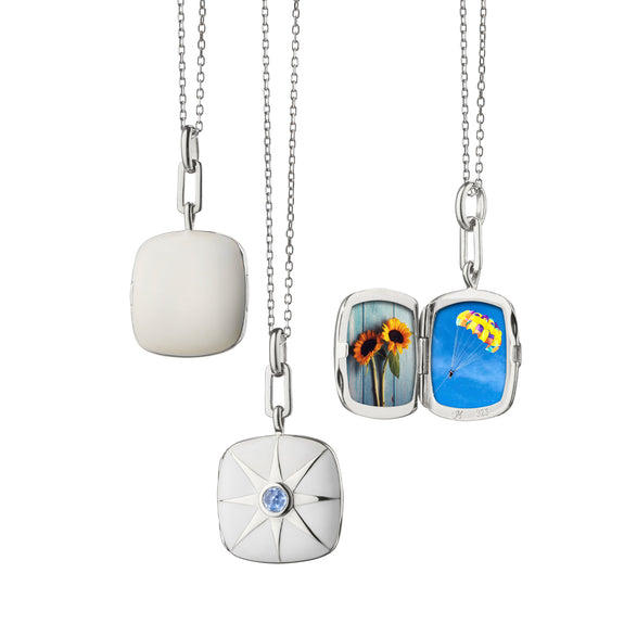 White Enamel Cushion Locket with Blue Sapphire