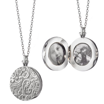 Signature Round Floral Pattern Locket