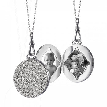 Signature Large Round Vine Pattern Locket