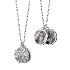 "Round Floral Half-Locket Necklace Shown on 16"" Disappearing Chain"