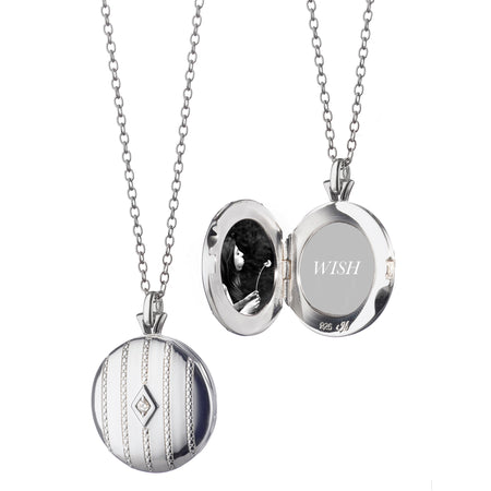 silver diamond mirror locket pendant sypgn snow products sterling s white dsin howard center