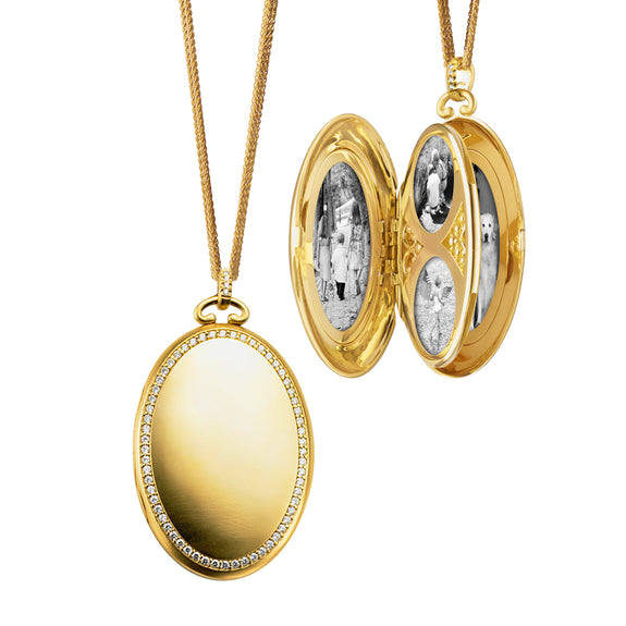 "Six Image Diamond Border Locket on 32"" Double Wheat Chain"