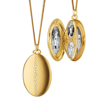 "Six Image Diamond Locket on 32"" Double Wheat Chain"