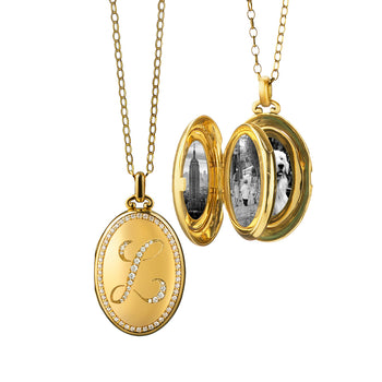 Custom Diamond Four Image Locket in Yellow Gold