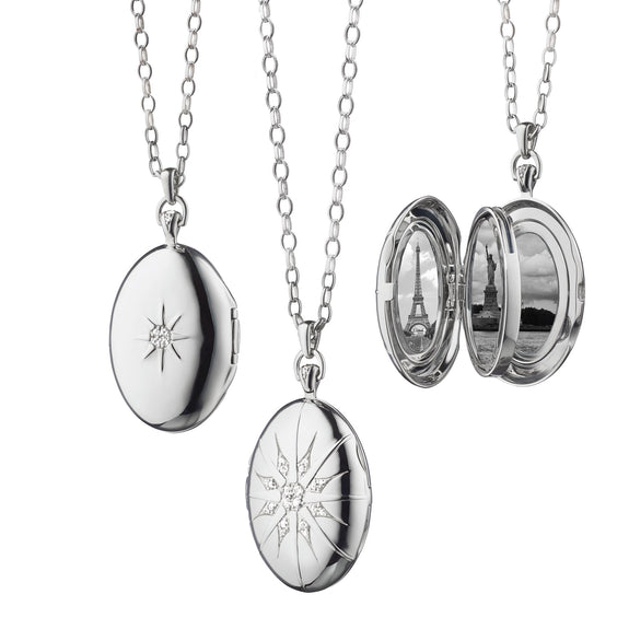 "The Four Image ""Premier"" Locket with Star Burst in Sterling Silver"