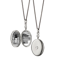 White Sapphire and Sterling Silver Locket Necklace