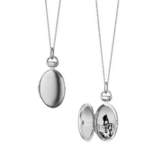 "Sterling Silver Petite ""Anna"" Locket Necklace on Silver Chain"