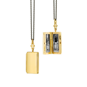 Deco Rectangular Locket with Bridle Bail