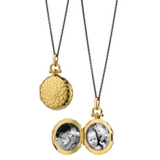 Petite Scalloped Locket presented on a steel chain