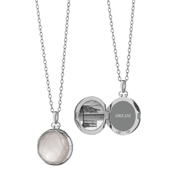 18K White Gold Petite Round Two-Sided Locket
