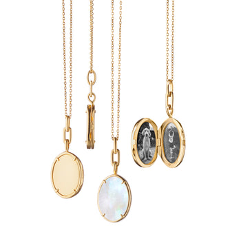 """Elle"" Stone Slim Locket"