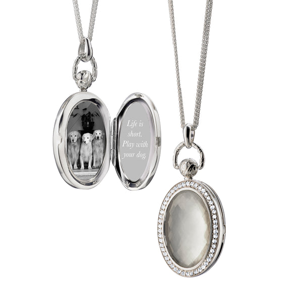 Oval Stone Pocket Watch Locket,  Mother of Pearl