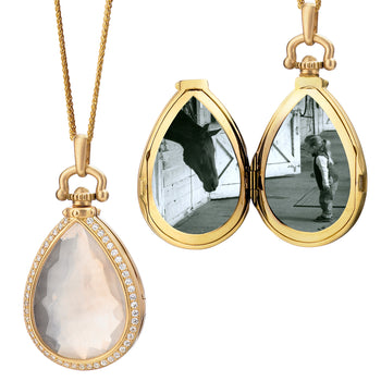 Teardrop Locket with Snow Quartz