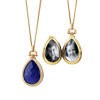Lapis Teardrop Locket, Limited Edition