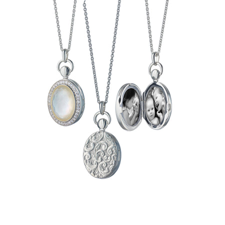 Petite Oval Stone Locket, Mother of Pearl