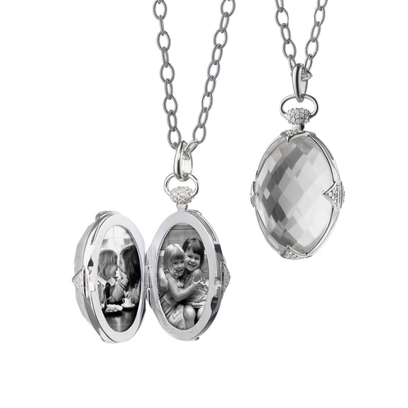 "Sterling Silver Rock Crystal Locket with White Sapphire Accents on a 30"" Chain"