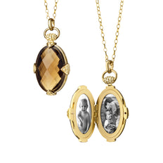 Smoky Quartz Double-Sided Stone Locket