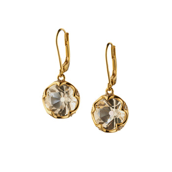 Round Cut Rock Crystal Earrings