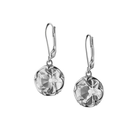 Silver & Sapphires Round Bezel-Set Earrings