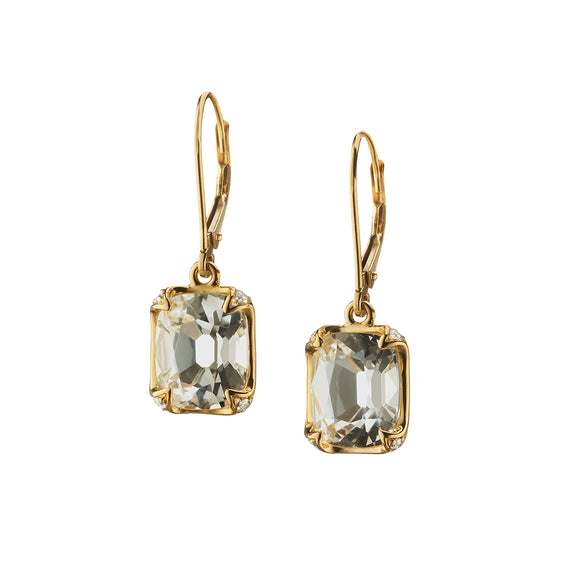 Cushion Bezel-Set Earrings