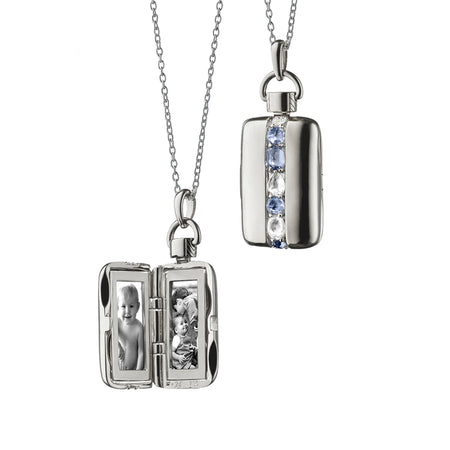 Rectangular Rose-Cut Blue Sapphire and Rock Crystal  Locket