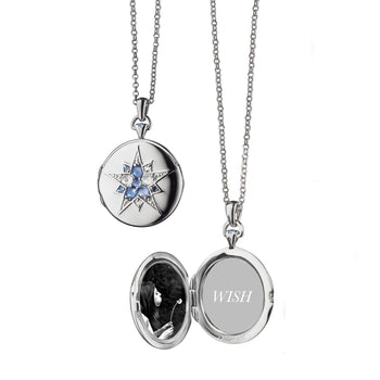 "Round ""Burst"" Locket, Blue Sapphires"