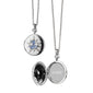 "Round Sterling Silver ""Burst"" Locket with Blue Sapphires"