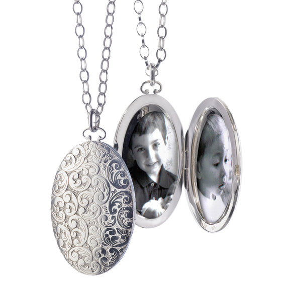Oval Floral Patterned Locket, Large
