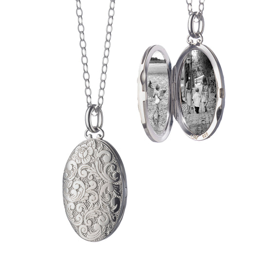 Medium Oval Floral Patterned Locket
